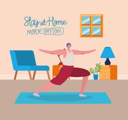 Mannkarikatur, die Übungsdesign von Bleiben Sie zu Hause und Aktivitätenthema Vektorillustration tut