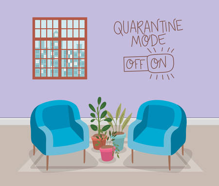 Chairs window and plants inside pots design of Stay at home and quarantine theme Vector illustration Vectores