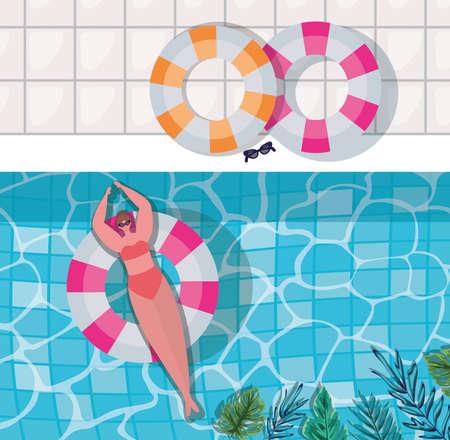 girl, dessin animé, sur, flotteur, à, piscine, à, feuilles, vue dessus, conception, vacances été, et, thème tropical, vecteur, illustration Vecteurs