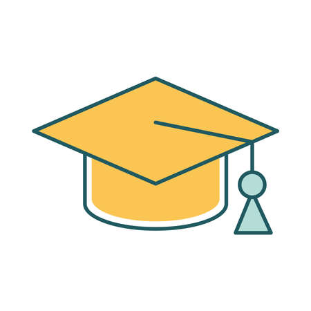 Graduation cap line and fill style icon design, University education school college academic ceremony degree and student theme Vector illustration
