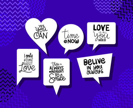 Bubbles set design of Quote phrase text and positivity theme Vector illustration Illustration