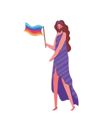Man cartoon with costume and lgtbi flag design, Pride day love sexual orientation and identity theme Vector illustration