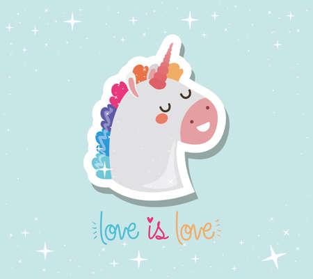 lgtbi kawaii unicorn cartoon with love is love text design, Pride day love sexual orientation and identity theme Vector illustration