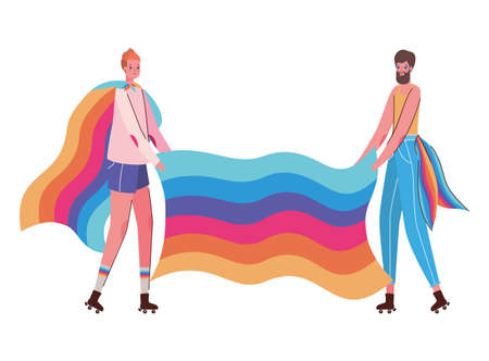 Woman and man cartoon with costume and lgtbi flag design, Pride day love sexual orientation and identity theme Vector illustration Vectores