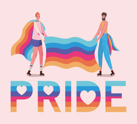 Woman and man cartoons with costumes and lgtbi pride text and flag design, Pride day love sexual orientation and identity theme Vector illustration