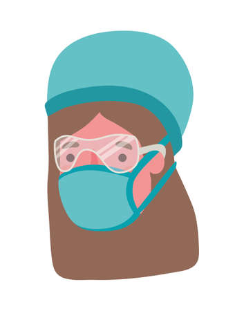 Female doctor with mask design, Workers occupation and job theme Vector illustration