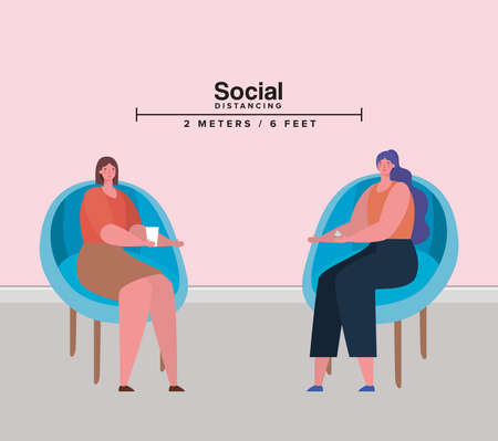 Social distancing between women on chairs design of Covid 19 virus theme Vector illustration Vectores