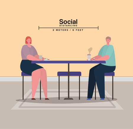 Social distancing between woman and man on table with coffee mug design of Covid 19 virus theme Vector illustration