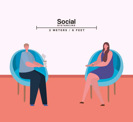Social distancing between woman and man on chairs design of Covid 19 virus theme Vector illustration