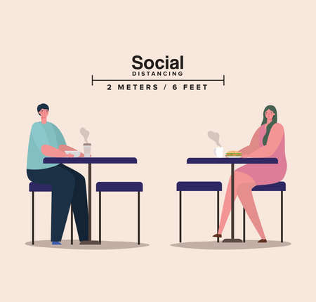 Social distancing between woman and man on tables with coffee mugs design of Covid 19 virus theme Vector illustration