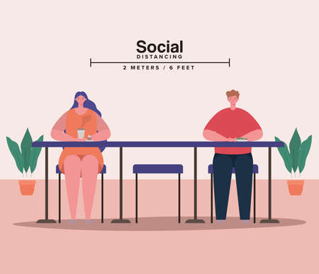 Social distancing between woman and man on table design of Covid 19 virus theme Vector illustration