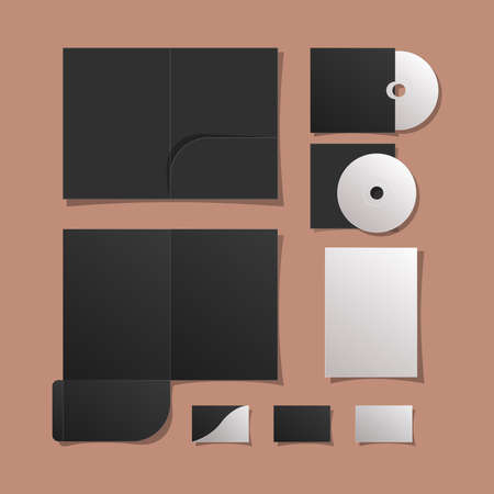 Mockup files cds and cards design of corporate identity template and branding theme Vector illustration