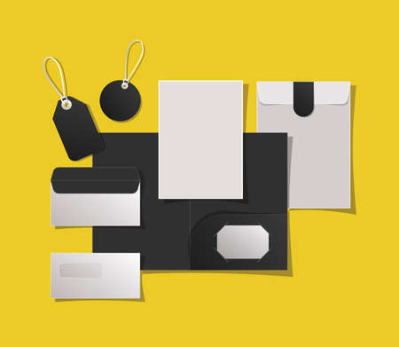 Mockup file labels and envelopes design of corporate identity template and branding theme Vector illustration