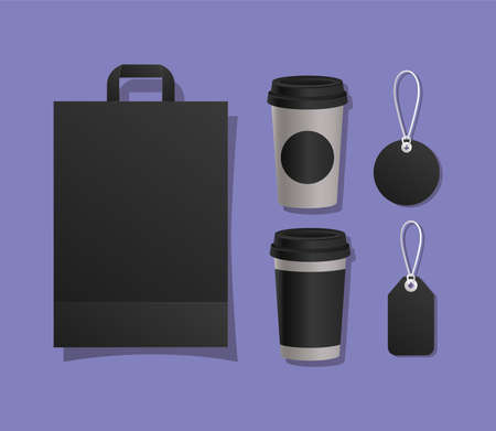 Mockup bag mugs and labels design of corporate identity template and branding theme Vector illustration