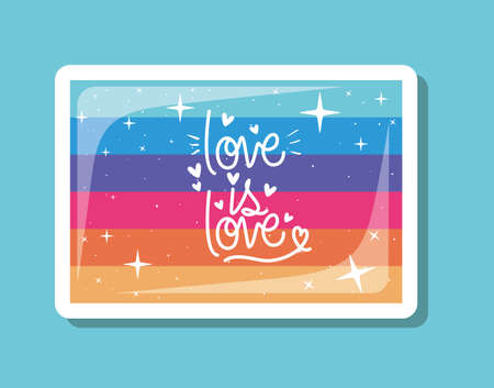 love is love over lgtbi flag design, sexual orientation and identity theme Vector illustration Vectores