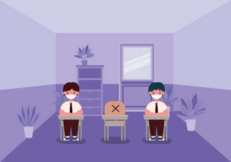boys kids on desks with medical masks at classroom design, Back to school and social distancing theme Vector illustration