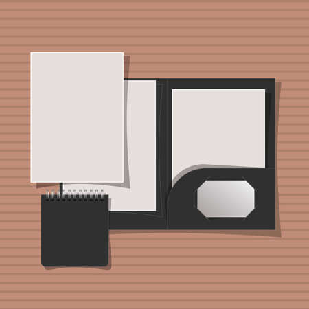 Mockup file and notebook design of corporate identity template and branding theme Vector illustration