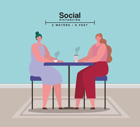 Social distancing between women on table with coffee mugs design of Covid 19 virus theme Vector illustration