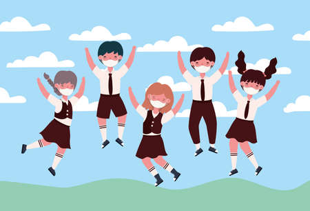 Girls and boys kids jumping with medical masks design, Back to school and social distancing theme Vector illustration Иллюстрация