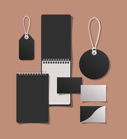 Mockup notebooks cards and labels design of corporate identity template and branding theme Vector illustration