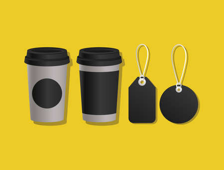 Mockup coffee mugs and labels design of corporate identity template and branding theme Vector illustration