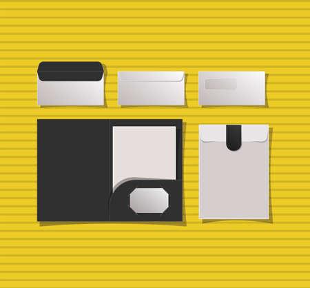 Mockup file and envelopes design of corporate identity template and branding theme Vector illustration Ilustração