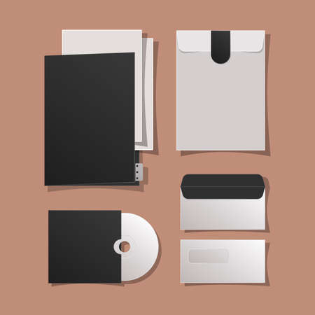 Mockup file cd and envelopes design of corporate identity template and branding theme Vector illustration