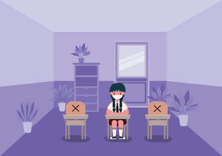 Girl kid on desk with medical mask at classroom design, Back to school and social distancing theme Vector illustration