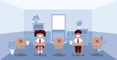 Girl and boy kids on desks with medical masks at classroom design, Back to school and social distancing theme Vector illustration