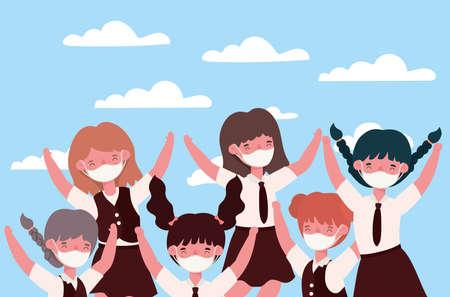 Girls kids with medical masks design, Back to school and social distancing theme Vector illustration Иллюстрация