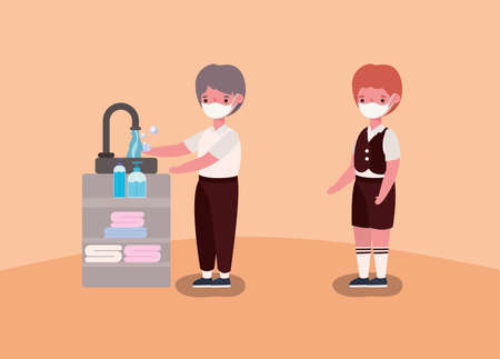 boys kids with medical masks washing hands design, Back to school and social distancing theme Vector illustration Иллюстрация