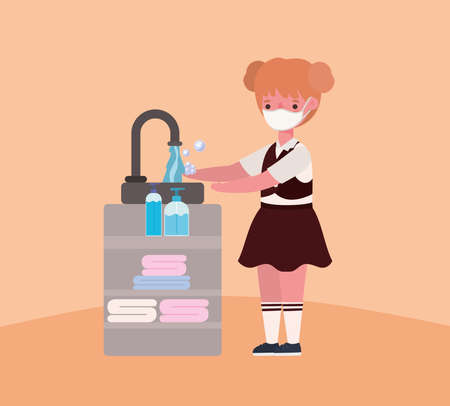 Girl kid with medical mask washing hands design, Back to school and social distancing theme Vector illustration