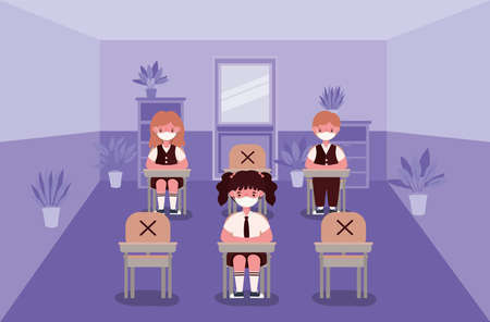 Girls and boy kids on desks with medical masks at classroom design, Back to school and social distancing theme Vector illustration