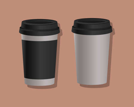 Mockup coffee mugs design of corporate identity template and branding theme Vector illustration