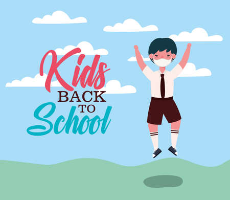 Boy kid jumping with medical mask design, Back to school and social distancing theme Vector illustration
