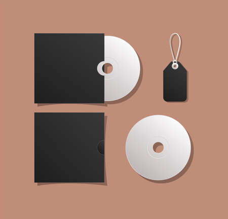 Mockup cds and label design of corporate identity template and branding theme Vector illustration