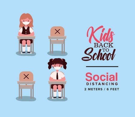 Girls kids on desks with medical masks design, Back to school and social distancing theme Vector illustration