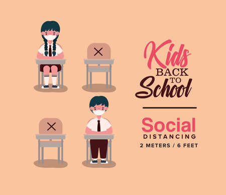 boy and girl kids on desks with medical masks design, Back to school and social distancing theme Vector illustration Vectores