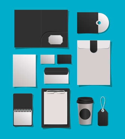 Mockup file mug cd cards envelopes notebook and label design of corporate identity template and branding theme Vector illustration Vectores