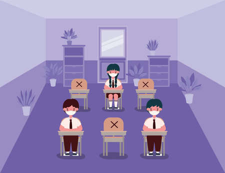 Girl and boys kids on desks with medical masks at classroom design, Back to school and social distancing theme Vector illustration Vectores