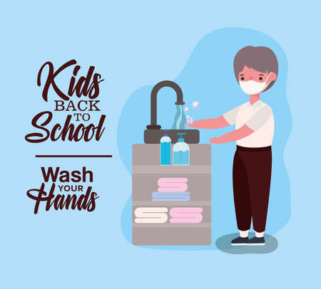 Boy kid with medical mask washing hands design, Back to school and social distancing theme Vector illustration