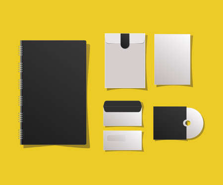 Mockup notebook envelopes and cd design of corporate identity template and branding theme Vector illustration