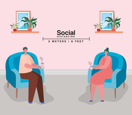 Social distancing between woman and man on chairs with coffee mugs design of Covid 19 virus theme Vector illustration
