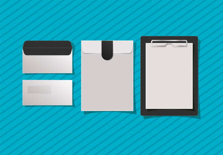 Mockup notebook and envelopes design of corporate identity template and branding theme Vector illustration