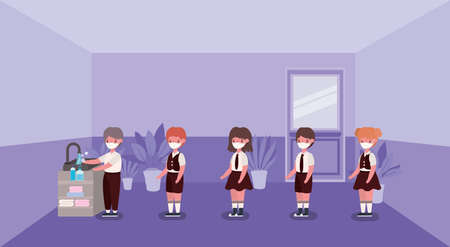 Girls and boys kids with medical masks washing hands design, Back to school and social distancing theme Vector illustration