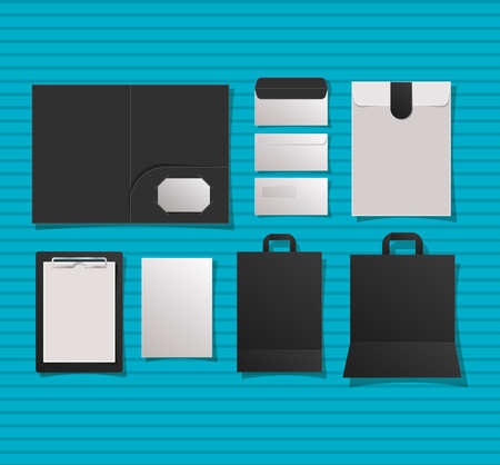 Mockup notebook file envelopes and bags design of corporate identity template and branding theme Vector illustration