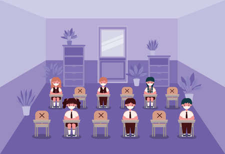 Girls and boys kids on desks with medical masks at classroom design, Back to school and social distancing theme Vector illustration