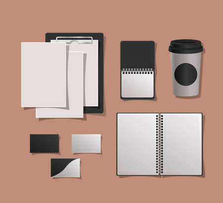 Mockup notebooks mug and cards design of corporate identity template and branding theme Vector illustration Vectores
