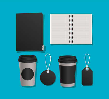Mockup notebook file mugs and labels design of corporate identity template and branding theme Vector illustration Vectores