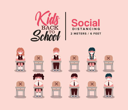 boys and girls kids on desks with medical masks design, Back to school and social distancing theme Vector illustration